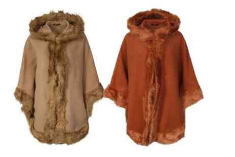 Verso Fashion - Faux fur lined hooded cape choose from six colours - Save 64%