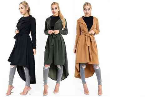 Verso Fashion - Womens drop hem trench coat choose from three colours - Save 54%