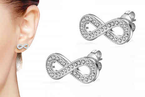 Philip Jones - Pair filigree infinity earrings made with crystals from Swarovski choose between two colours - Save 84%