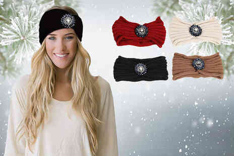 Boni Caro - Jewelled knitted headband choose from five colours - Save 80%
