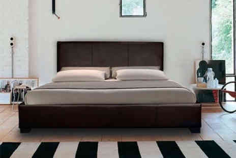 The Bed Outlet - Modern faux leather bed choose between four sizes, three colours and a spring or memory mattress - Save 86%