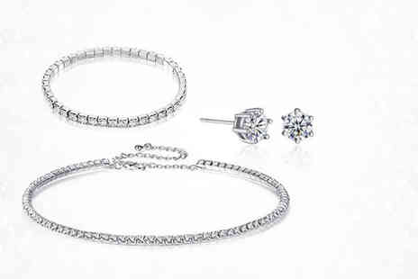 Gemnations - Crystal choker, bracelet and earring set - Save 85%