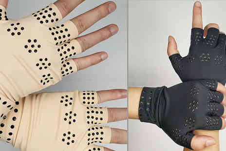 HXT Goods - Therapeutic Magnetic Arthritic Fingerless Glove Available in 2 Colours - Save 65%