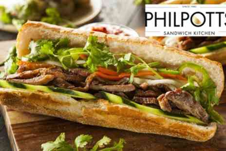 Philpotts - Freshly Carved Roast Meat Baguette, Gateau Slice and Drink for One or Two - Save 39%