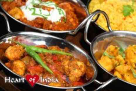 Heart of India - An Indian meal for 2 including starters, mains, rice, naan & coffees each - Save 54%