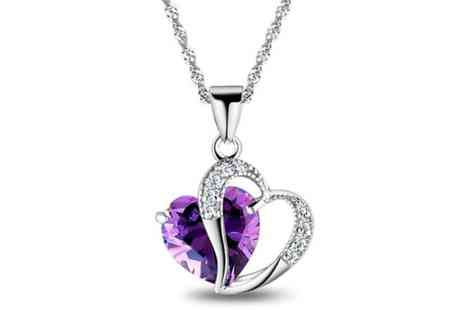 GetGorgeous - Amethyst coloured crystal heart pendant - Save 75%