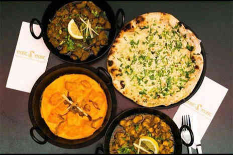 East z East - Indian meal for two including starters, mains, two rice dishes, and a naan bread with a glass of wine or a bottle of beer each - Save 66%