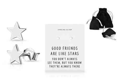 Philip Jones - Pair of sterling silver friendship quote star earrings - Save 79%
