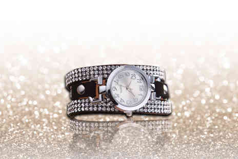London Exchain Store - Crystal bracelet wrap watch choose from silver or gold - Save 85%
