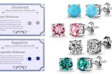 Groupon Goods Global GmbH - Philip Jones Birthstone Earrings in Choice of Design with Crystals from Swarovski - Save 84%