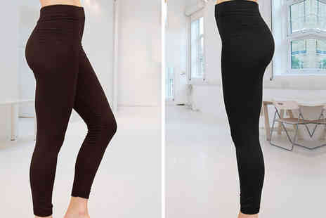 Nothing New 2 Wear - Four pairs of fleece lined leggings choose between black and chocolate or get both - Save 0%