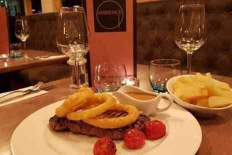Ambience - Chargrilled Irish Rump Steak Meal with Optional Glass of Wine Each for Two or Four - Save 30%
