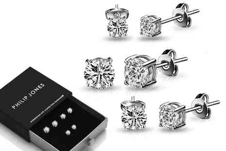 Philip Jones - Three pack of crystal earrings choose from three colours - Save 82%