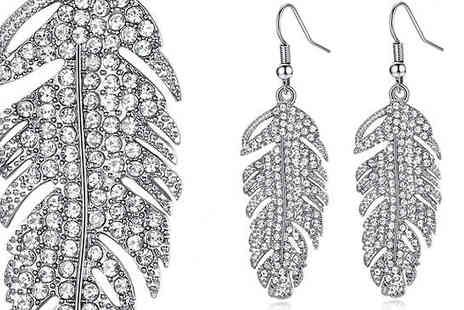 Your Ideal Gift - Feather Drop Earrings with Crystals From Swarovski Choose from 2 Colours - Save 85%