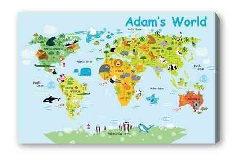 Deco Matters - Personalised kids world map canvas - Save 90%
