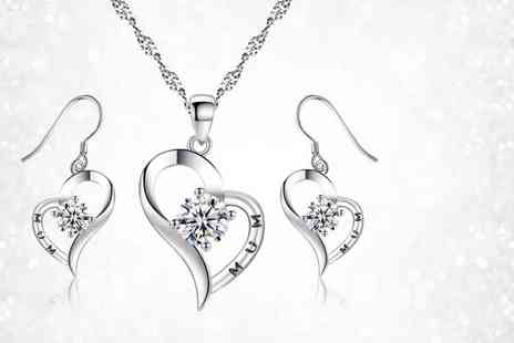 Your Ideal Gift - 7.33 carat clear labreated sapphire rhodium plated tri set - Save 87%