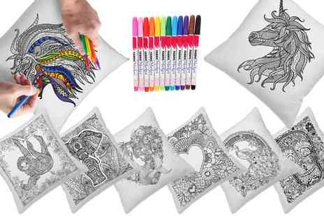 Groupon Goods Global GmbH - Up to Four Graffiti Pillow Covers with Colouring Pens in Choice of Design - Save 88%