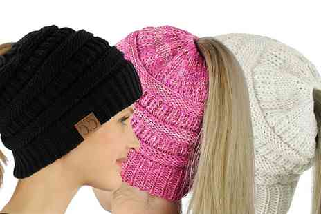 Groupon Goods Global GmbH - Knitted Ponytail Beanie Hat - Save 0%