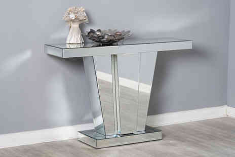 Dreams Living - Mirrored V shaped console table - Save 23%