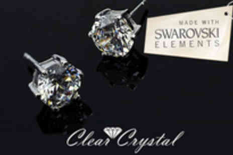 Clear Crystal - Pair of stunning Swarvoski element 18K White Gold plated earrings - Save 86%