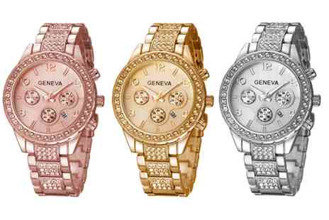 Solo Act - Crystal geneva freya watch available in three colours - Save 80%