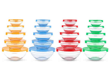 Chimp Electronics - Five piece glass bowl set, or 10 piece glass bowl set choose from four colours - Save 77%