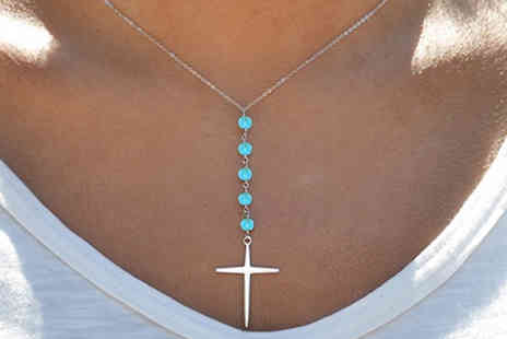 Marcus Emporium - Silver Plated Genuine Turquoise Beaded Cross Necklace - Save 87%