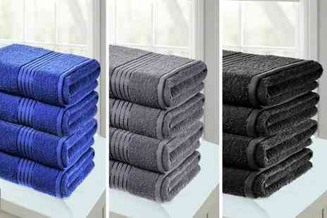 Groundlevel - Pack of four Hampton Lurex border bath sheets - Save 68%