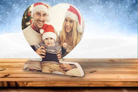 Your Perfect Canvas - Free standing photo heart and personalised text - Save 80%