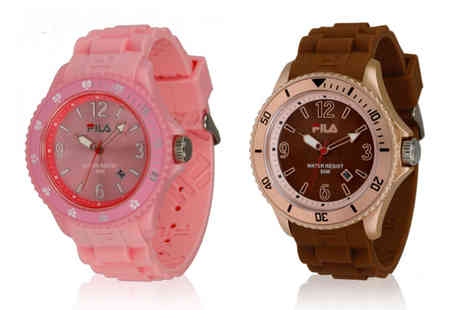 Relojitos - Rubber Fila watch in pink or brown - Save 0%
