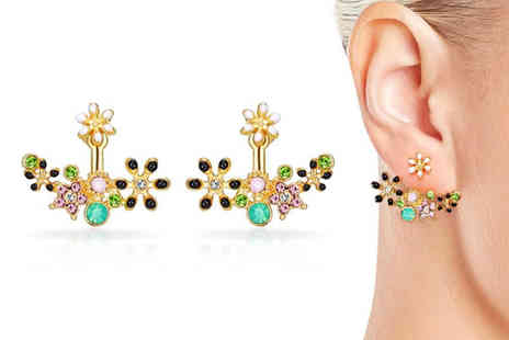 Philip Jones - Pair of gold plated flower earrings made with crystals from Swarovski choose from two designs - Save 79%