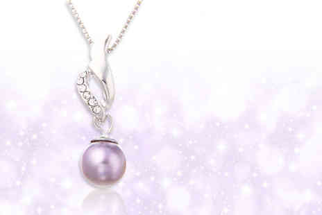 GetGorgeous - Grey faux pearl necklace with crystal accents - Save 77%