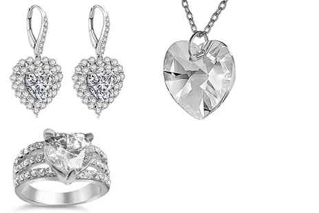 GameChanger Associates - Earrings, ring & pendant set made with crystals from Swarovski - Save 80%