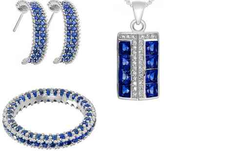 GameChanger Associates - Pair of blue crystal earrings, pendant And ring set - Save 73%