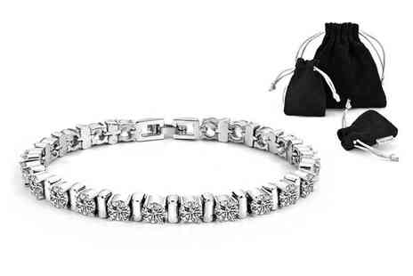 Philip Jones - Cubic Zirconia crystal bar bracelet - Save 78%