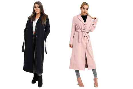 Verso Fashion - Long belted trench coat choose from five colours - Save 56%
