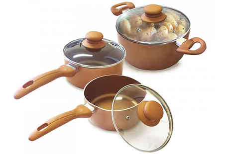 Dealberry - Homiu Set of Three Copper Pots - Save 73%