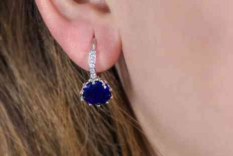 GameChanger Associates - Pair of royal blue zircon clasp earrings - Save 85%