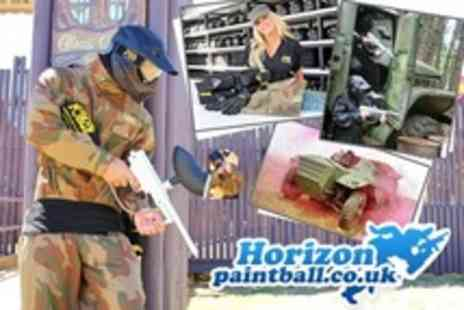 Horizon Paintball - Paintballing For One (£4), Five (£12), Ten (£20) or 20 (£30) Plus 100 Paintballs and Pizza Each at Horizon Paintball (Up to 93% Off) - Save 91%