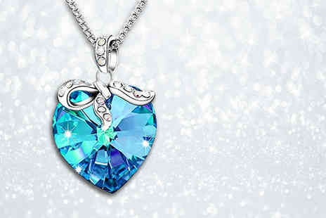 GameChanger Associates - Blue heart pendant made with crystals from Swarovski - Save 84%