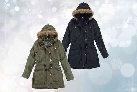 Nothing New 2 Wear - Military Style Parka Coat Available in Two Colours - Save 76%