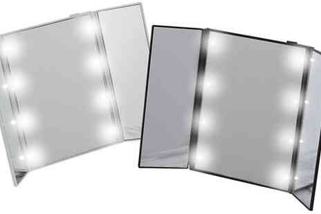 Best mall ever - Eight Led Tri Fold Make Up Mirror Choose Three Colours - Save 80%