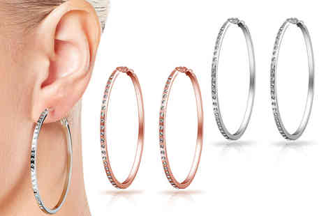 Philip Jones - Pair of hoop earrings made with crystals from Swarovski Coose between three colours - Save 81%