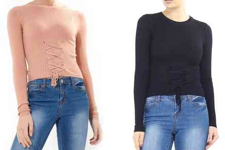 Groupon Goods Global GmbH - Brave Soul Womens Ribbed Jumper with Front Lace Detail - Save 0%