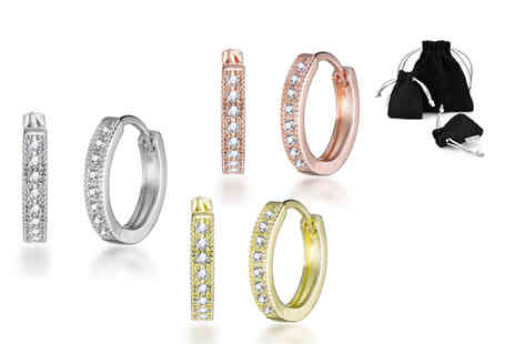 Philip Jones - Pair of hoop earrings made with crystals from Swarovski - Save 82%