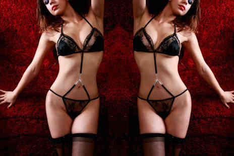 GameChanger Associates - Linked bra and G string with stockings and garter set - Save 77%