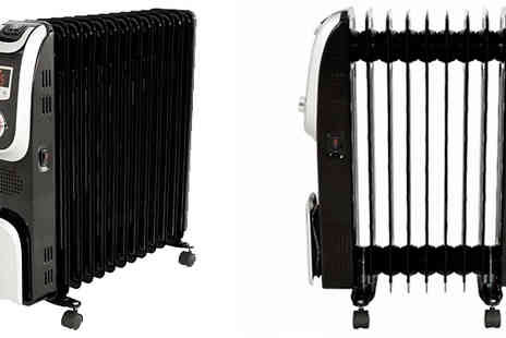 Garden & Camping - 2000 or 2500W Oil Filled Radiator With Remote Control And Led Screen - Save 54%