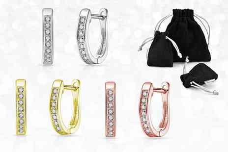 Philip Jones - Pair of channel set hoop earrings choose from Three colours - Save 81%