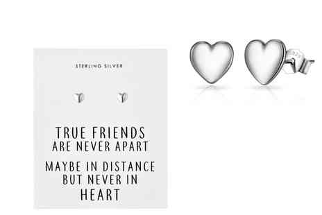 Philip Jones - Pair of sterling silver friendship quote earrings - Save 79%