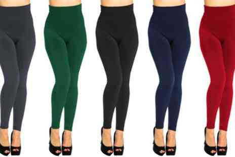 Groupon Goods Global GmbH - Two Pairs of Womens Fleece Lined Slim High Waist Leggings - Save 0%
